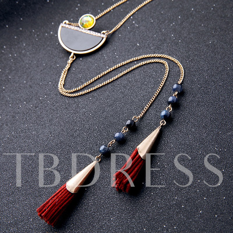 Vintage Long Personality Semicircle Gemstone Tassels Necklace
