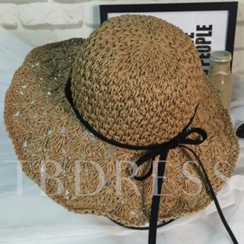 Bowknot Decorated Foldable Beach Hollow Straw Hat