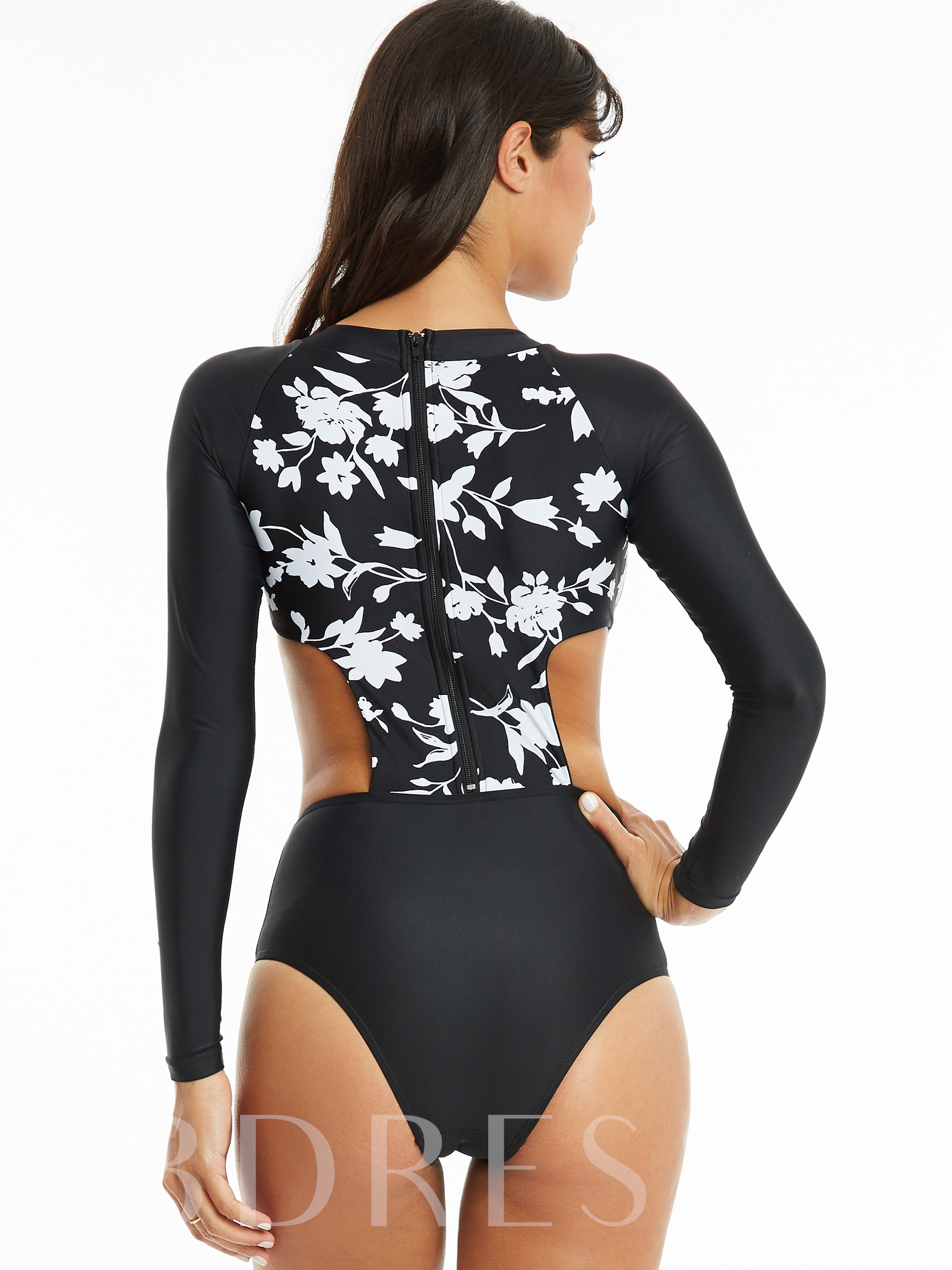 Flower Print Hollow Zipper Monokini