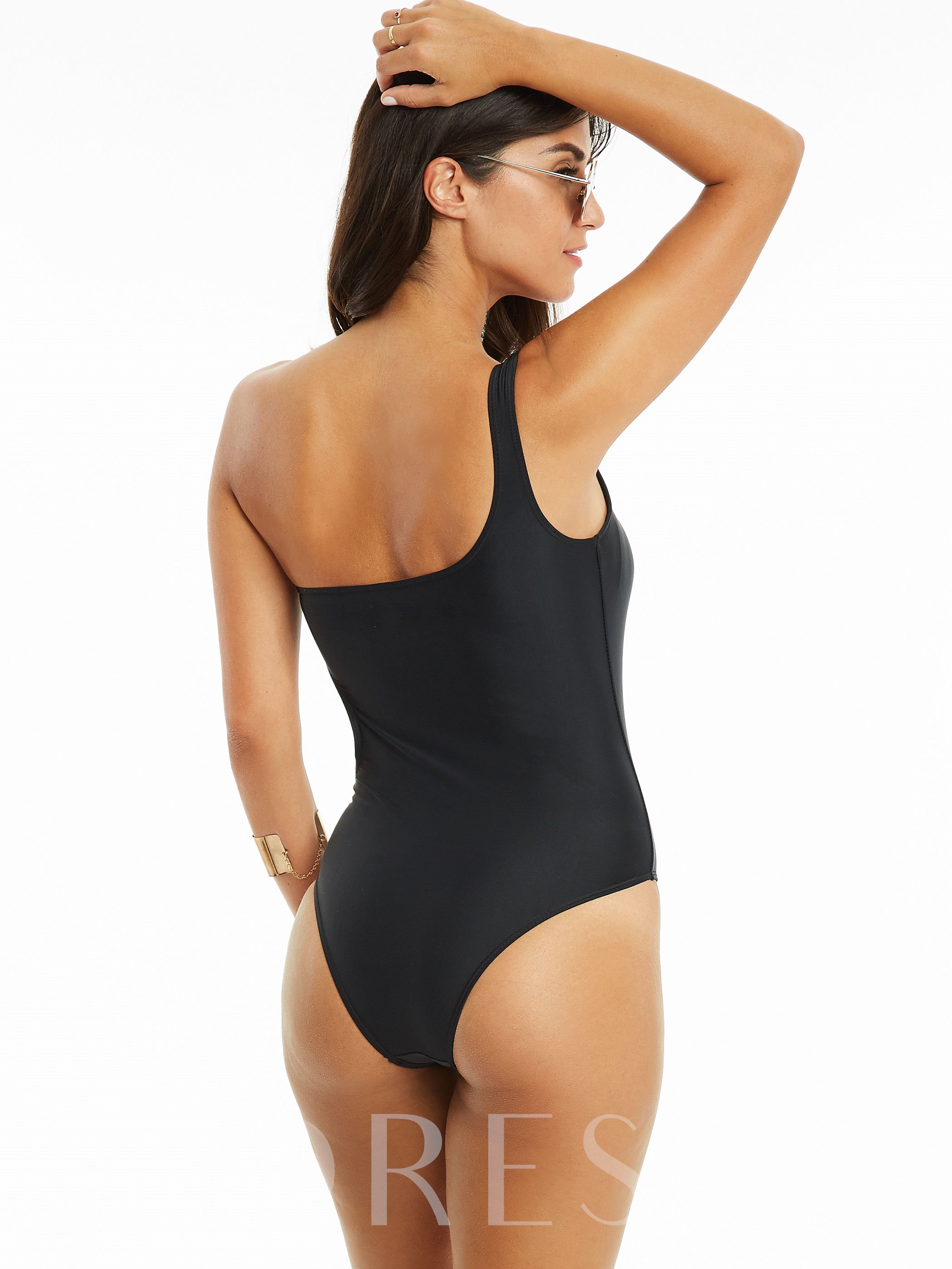 Simple One Shoulder Asymmetric One-Piece Swimsuit