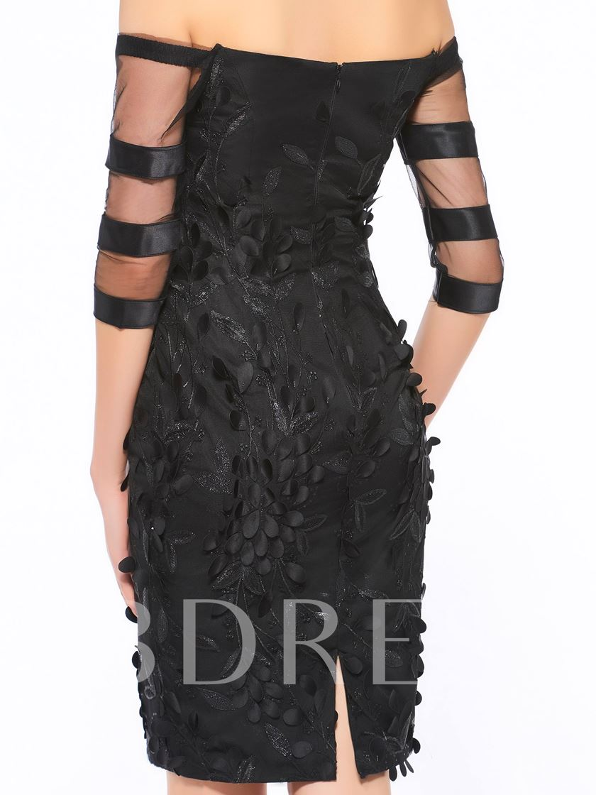 Appliques Half Sleeve Mother Of The Bride Dress