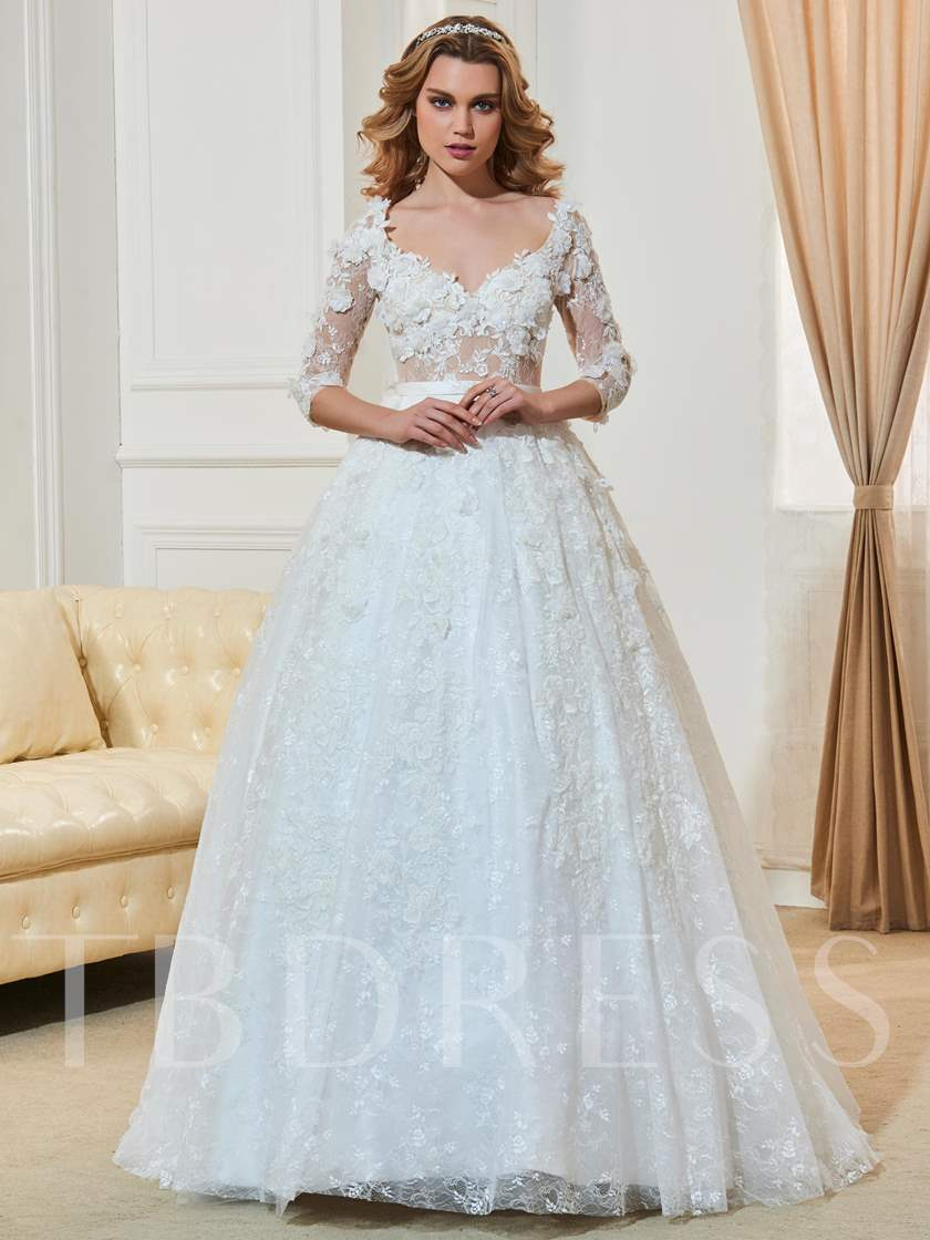 Sheer Back Ball Gown Flowers Lace Wedding Dress