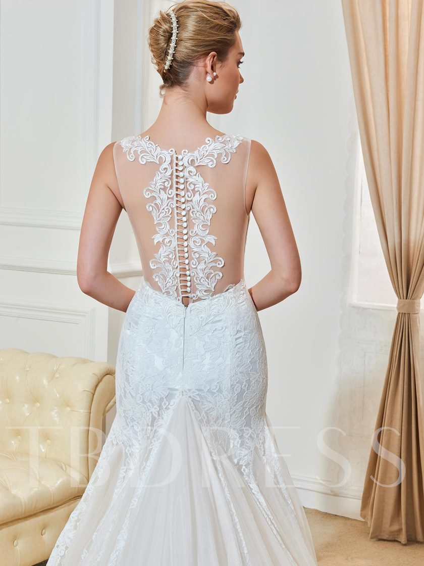 Gauze Scoop Neck Lace Button Mermaid Wedding Dress