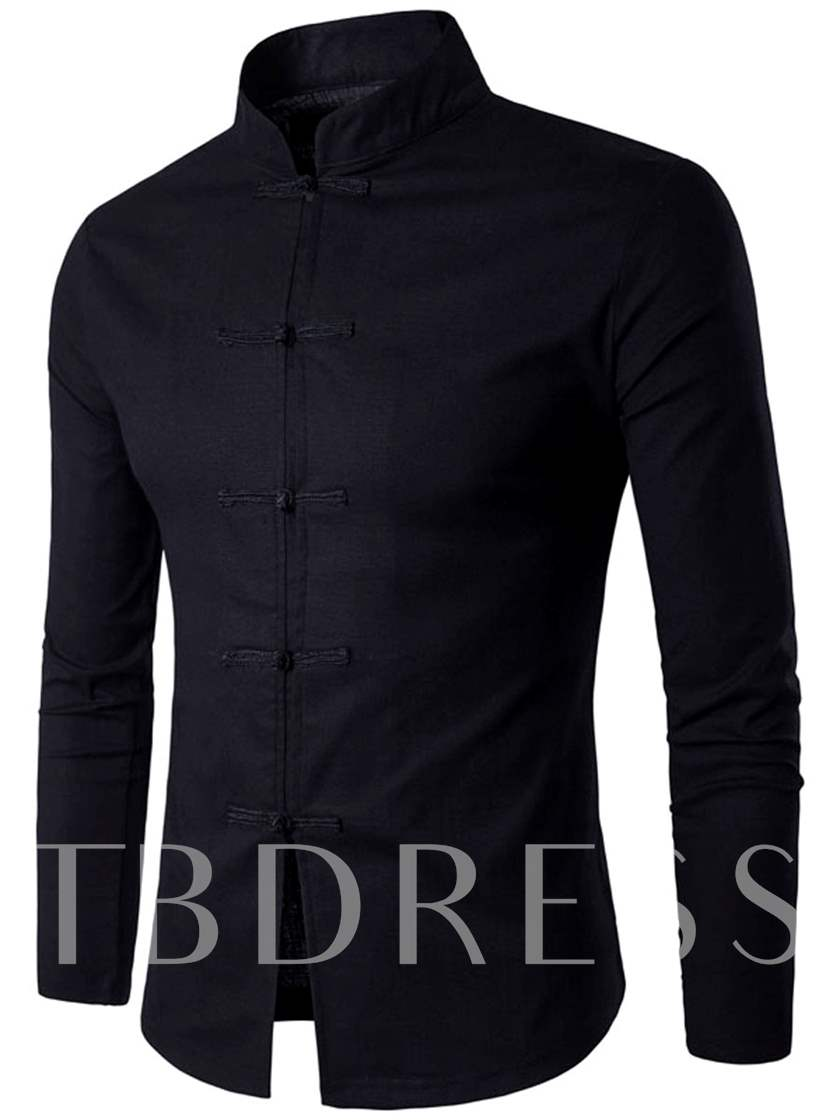 Stand Collar Pure Color Men's Causal Chinese Style Shirt