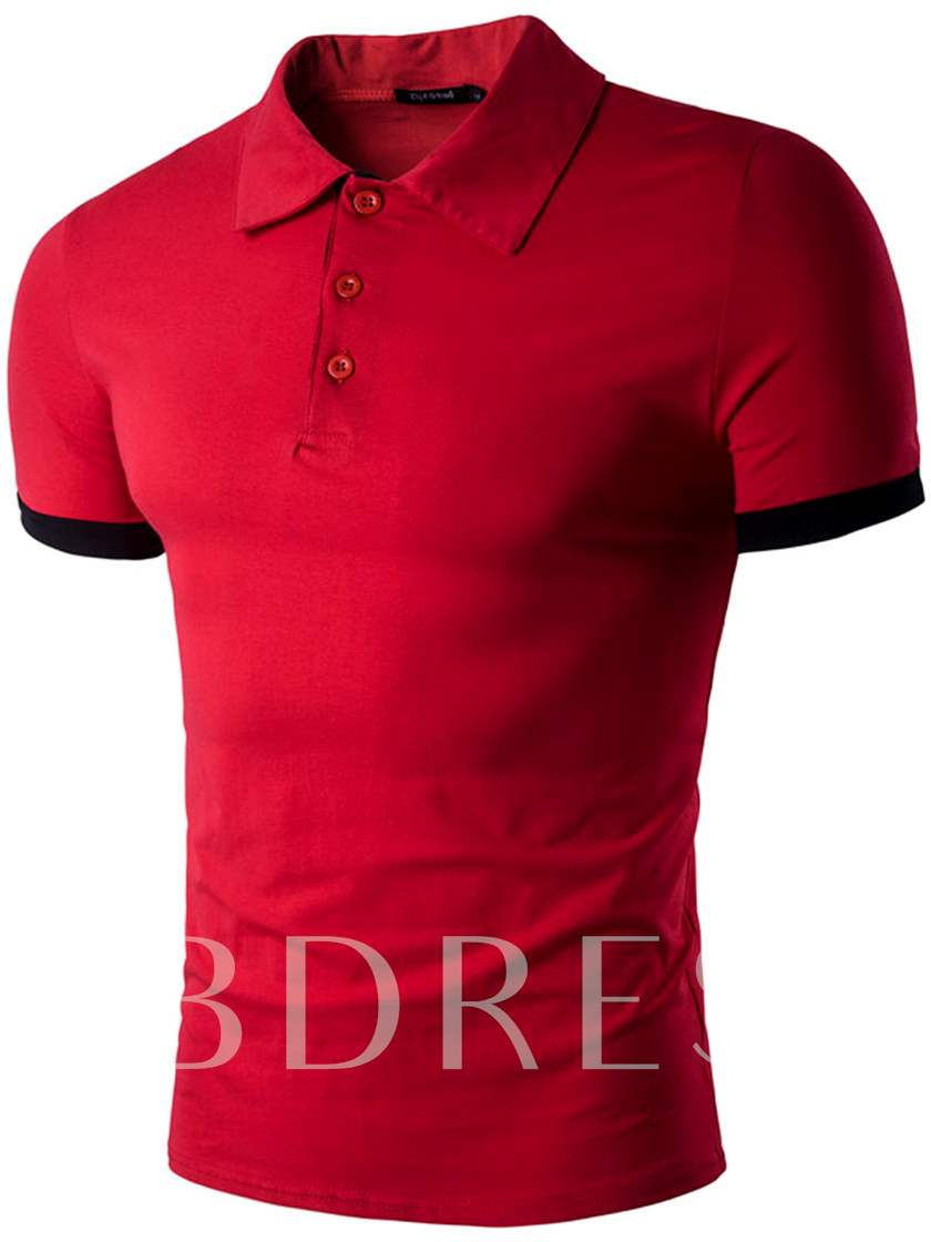Turn Down Collar Color Block Men's Casual Polo T-Shirt