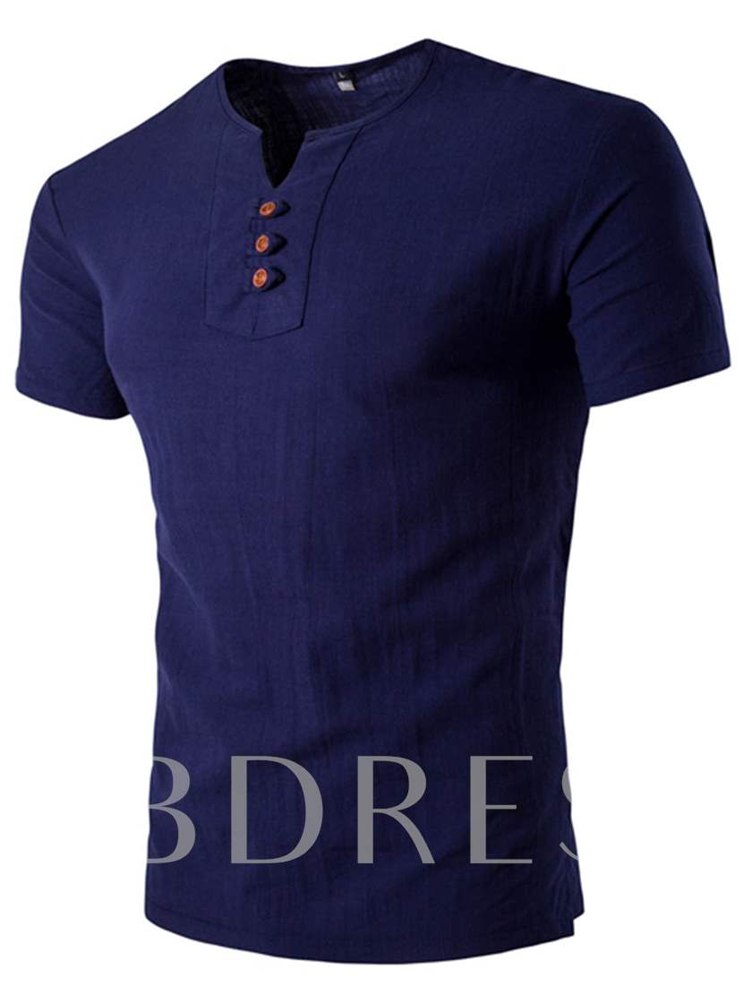 V-Neck Buttons Men's Casual T-Shirt with Short Sleeve