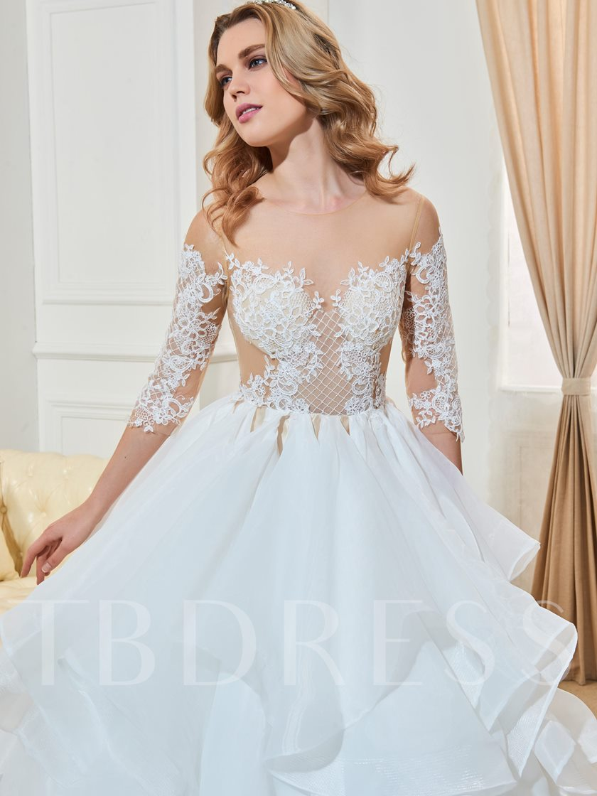 Sheer Tulle Appliques Ball Gown Tiered Wedding Dress