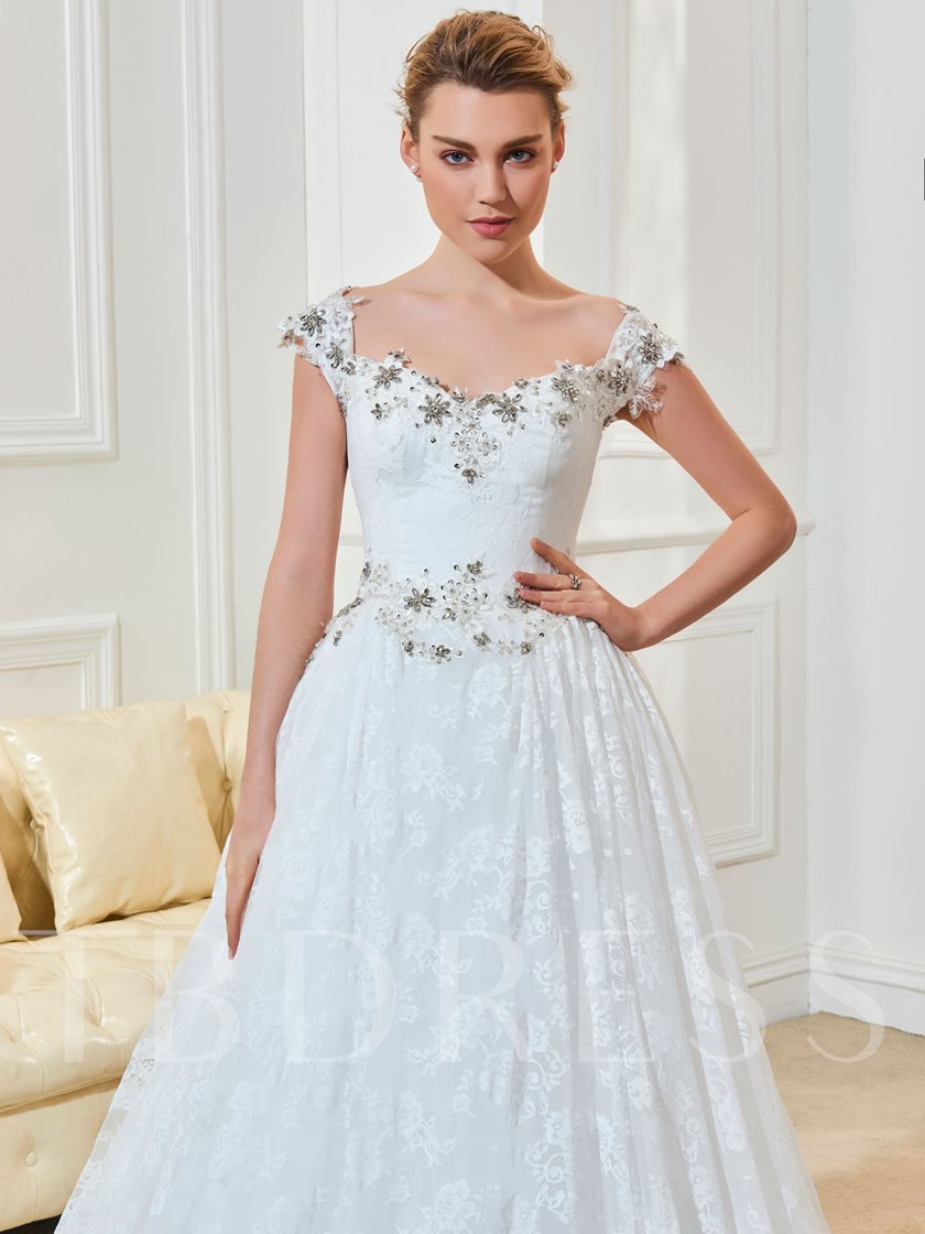 Off the Shoulder Beading Lace Wedding Dress