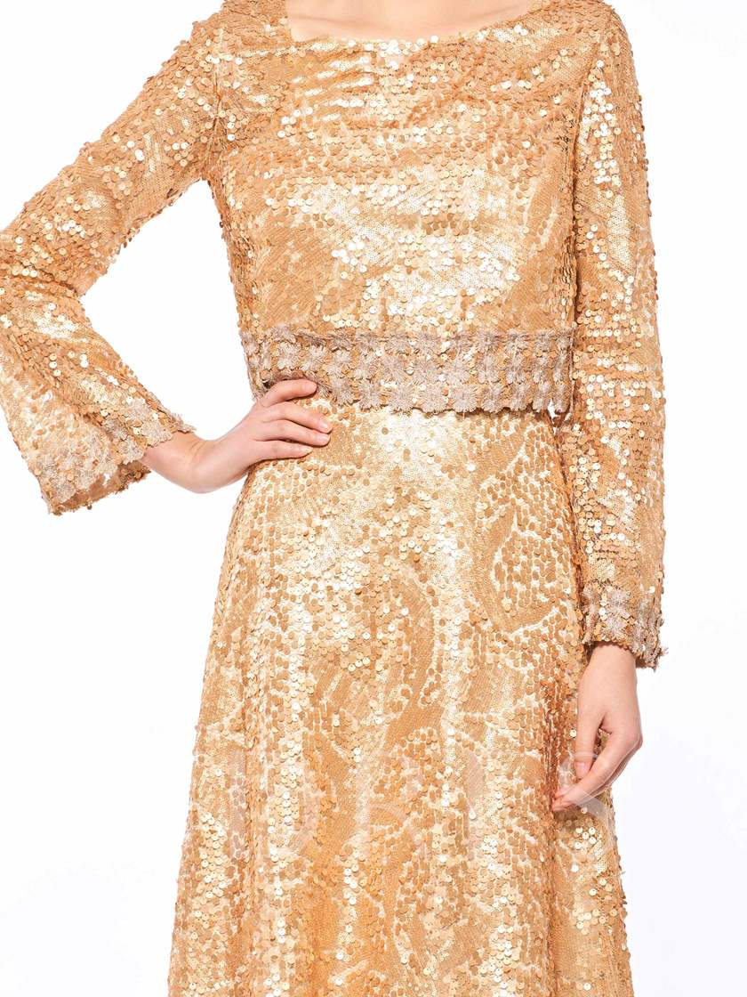 Bateau Neck Long Sleeves Sequins Mother Of The Bride Dress