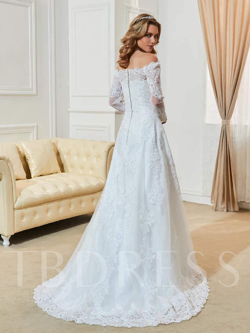Long Sleeve Appliques A-Line Wedding Dres