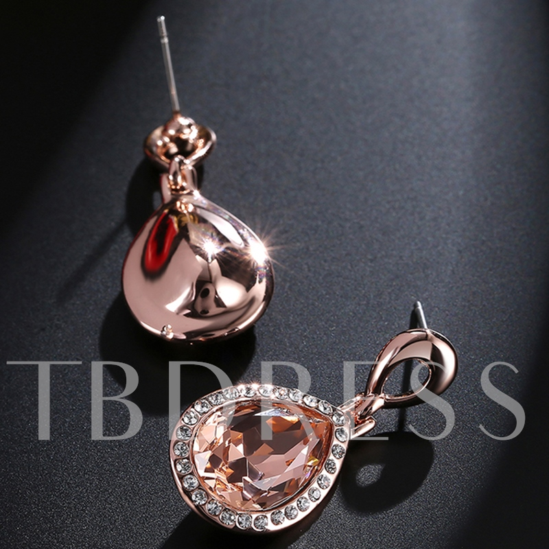 Water Drop Champagne Rhinestone Earrings