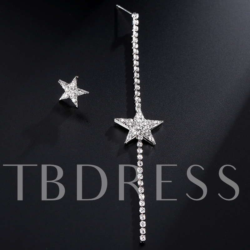 Asymmetric Stars Design Rhinestone Alloy Earrings