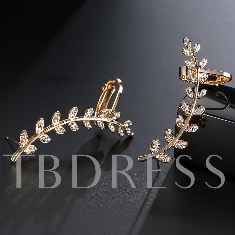 European Style Golden Wings Diamante Alloy Ear Clips
