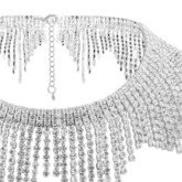 Shining Alloy Diamante Tassels Choker Necklace