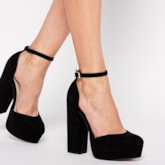 Round Toe Plain Suede Platform Chunky Heel Ankle Buckle Women's Pumps