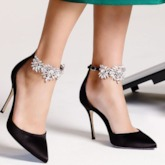 Pointed Toe Rhinestone Ankle Strap Women's Pumps