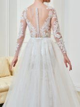 Sheer Scoop Neck Appliques Bridal Gown With Long Sleeves