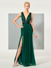 V-Neck Lace Ruched Split-Front Evening Dress