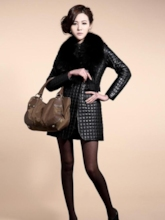 Black Long Sleeve PU Patchwork Women's Overcoat (Plus Size Available)