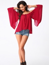 Pure Color Loose Off-Shoulder Women's Blouse