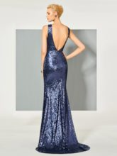 Reflective Dress Scoop Trumpet Sequins Evening Dress