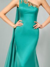 One Shoulder Sequins Appliques Evening Dress