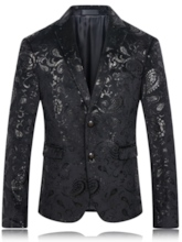Notched Collar Floral Printed Men's Blazer