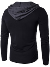 Long Sleeve Color Block Men's Casual Hooded T-Shirt