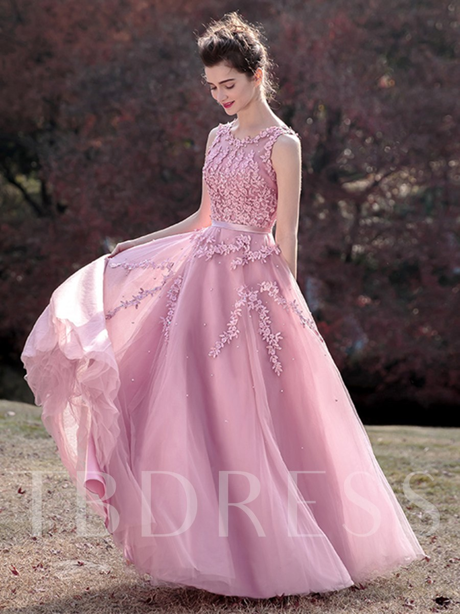 Image of A-Line Sleeveless Appliques Scoop Beading Sashes Prom Dress