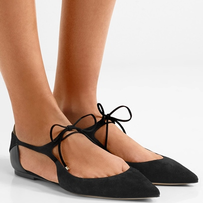 Pointed Toe Hollow Lace-Up Square Low Heel Women's Flats