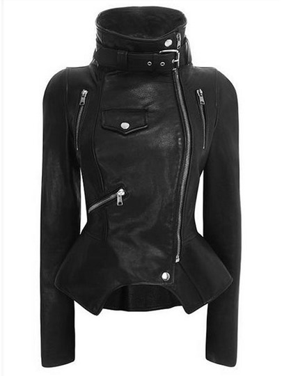 Stand Collar with Tight Waist Zipper Women's Jacket