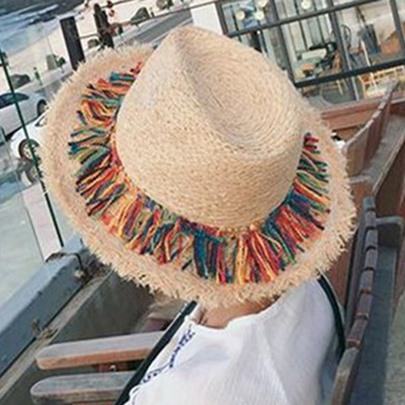 Colorful Tassels Embellished Sunscreen Straw Hat