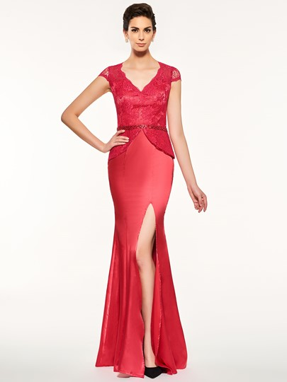 Cap Sleeve Lace Split-Front Mother Of The Bride Dress
