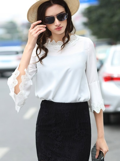 Chic White Lace Edge Bell Sleeve Women's Blouse