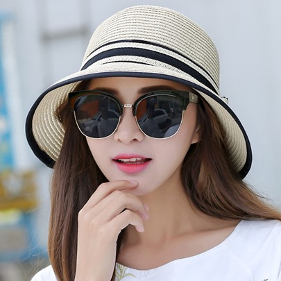 Stripe Design Bowknot Summer Foldable Straw Hat