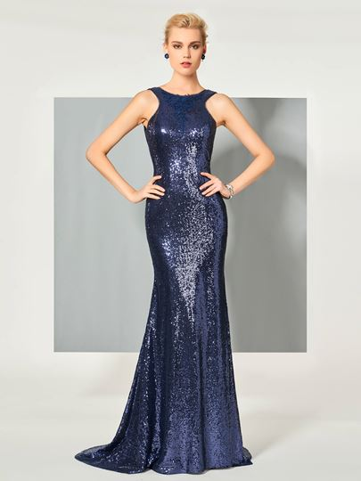Scoop Trumpet Sequins Sweep Train Evening Dress
