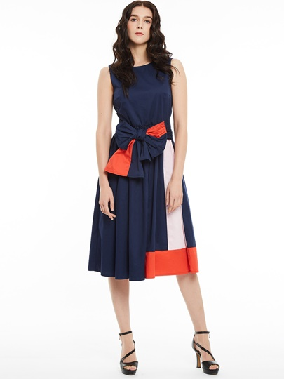 Round Neck Sleeveless Color Block A-Line Women's Day Dress