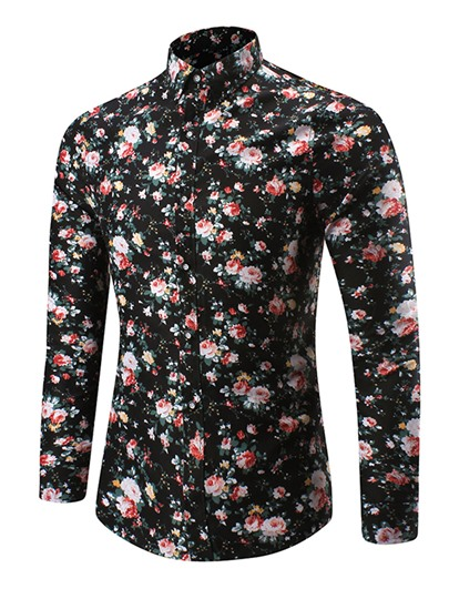 Lapel Single-Breasted Floral Print Slim Men's Dress Shirt