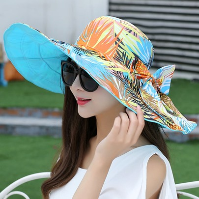 Two-Sided Wide Brim Plants Printed Sun Hat