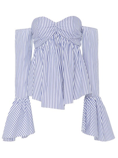 Sexy Slim Stripe Bell Sleeve Women's Blouse