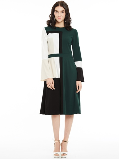Color Block A-Line Mid-Cafl Women's Day Dress