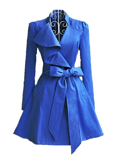 Blue Bow Knot Lapel Slim Women's Trench Coat