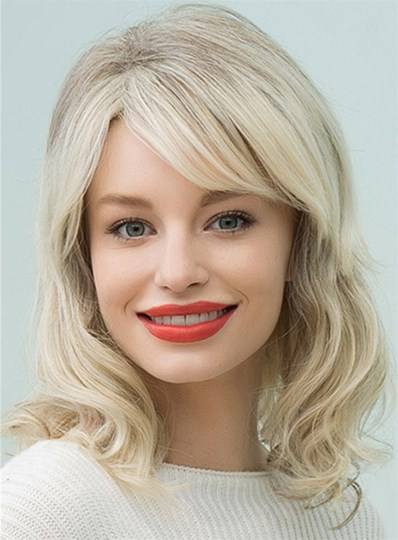 Mid-Length Nature Wavy Side Part Human Hair Blend Capless Wigs 16 Inches