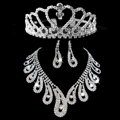 Rhinestone Wedding Bridal Tiaras &Jewelry Set (Including Necklace and Earrings)