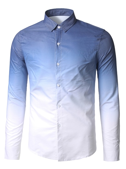 Gradient Color Single-Breasted Men's Casual Shirt