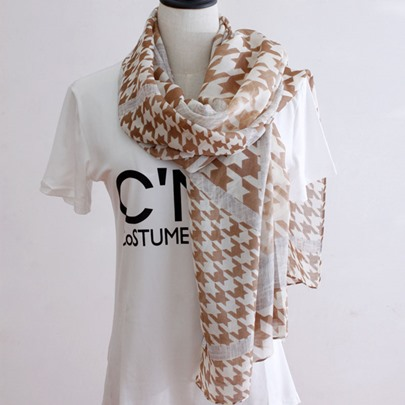 Houndstooth Tie-Dyed Classic Thin Cotton Scarf