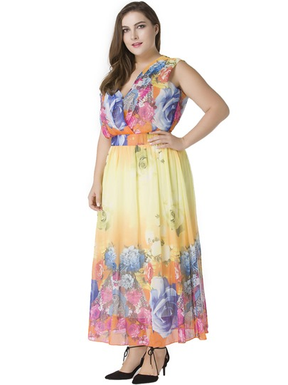 Plus Size Sleeveless Printing Women's Maxi Dress