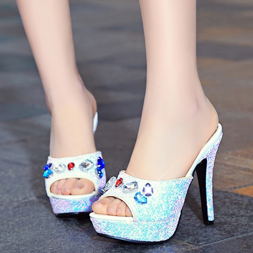 Platform Sequins Slip-On Stiletto Heel Rhinestone Women's Sandals