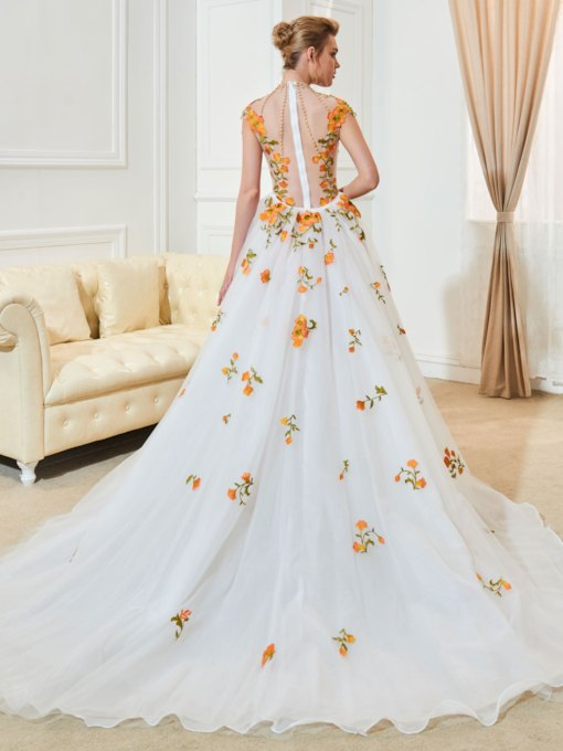 High Neck Cap Sleeve Liques Beading Wedding Dress