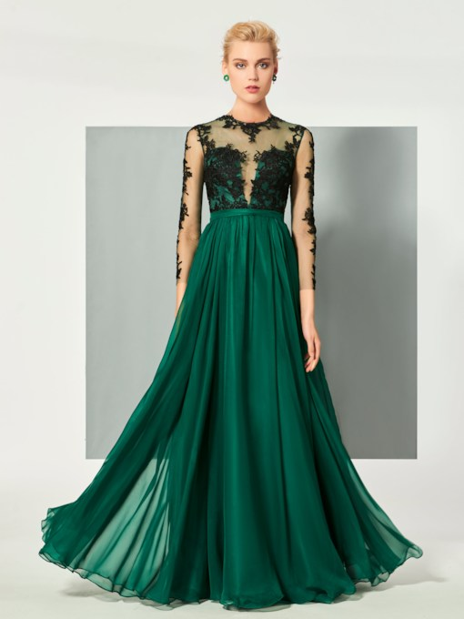 Jewel Neck A-Line Appliques Button Long Sleeves Floor-Length Evening Dress